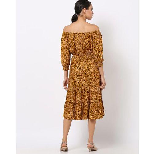Fig Animal Print Off-Shoulder A-line Dress