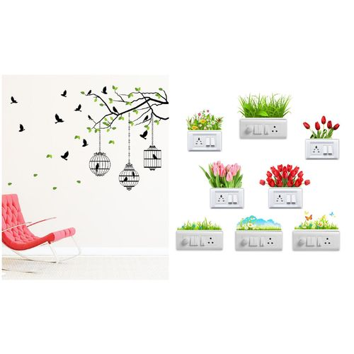 Eja Art Flying Birds With Case Wall And Switch Board Sticker by Deepa Negi