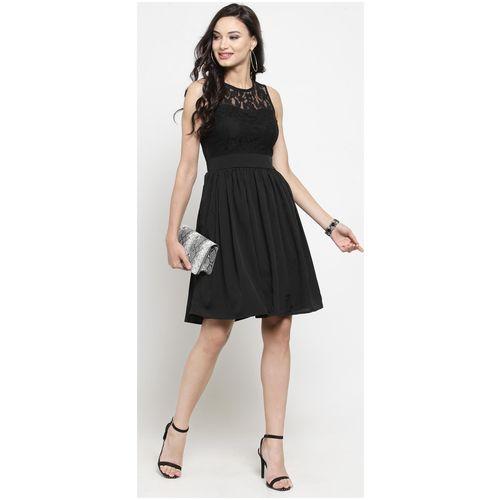Sera Black Solid Flared dress by Sera Group