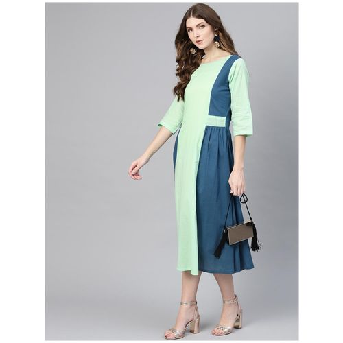 AASI- HOUSE OF NAYO Sea green Colorblocked Maxi dress by Bhumi E Retail