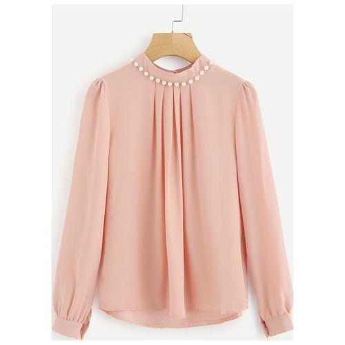 Fabrange Women's Pink Casual Full Sleeves Pearl Top by Fab Range Online
