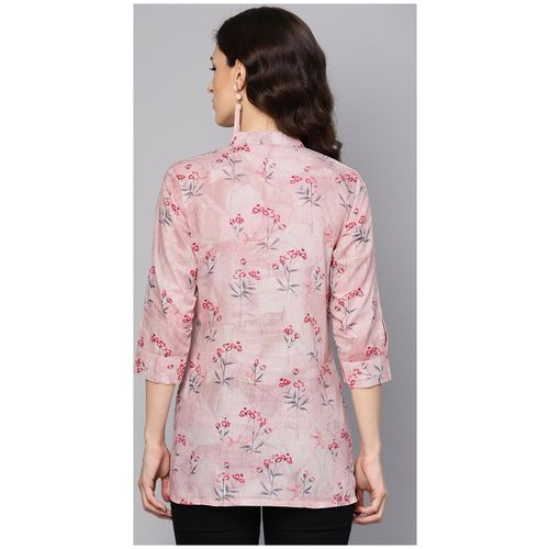 Aasi- House Of Nayo Cotton Floral Women Regular Tunic - Pink by Bhumi E Retail