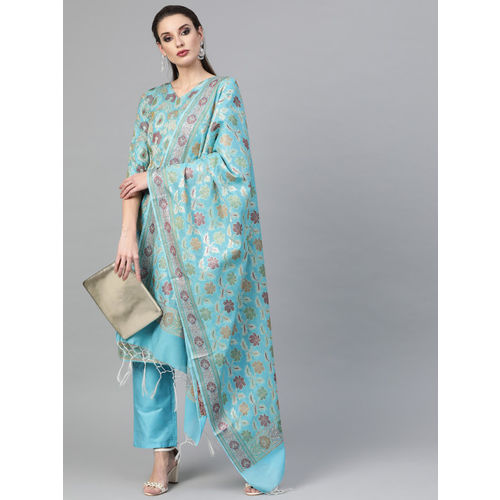 Inddus Blue & Green Banarasi Woven Design Unstitched Dress Material