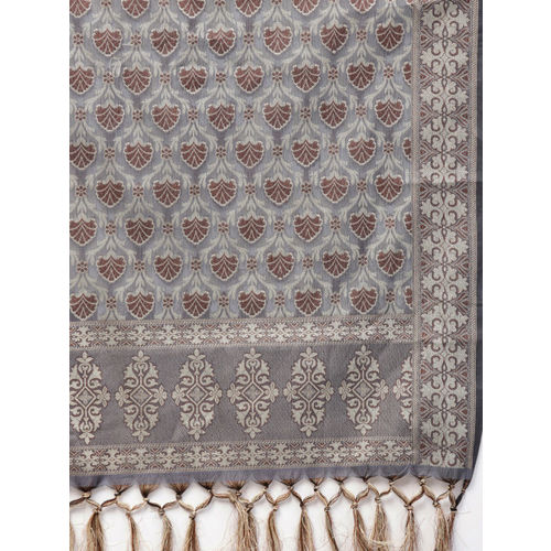 Inddus Charcoal Grey & Beige Unstitched Dress Material