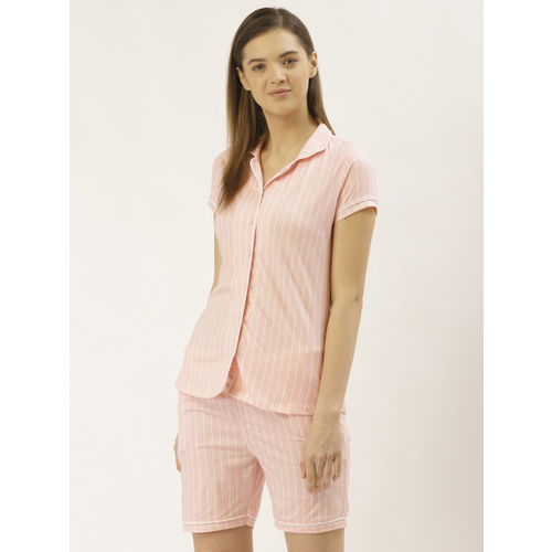 Sweet Dreams Women Pink & White Striped Night Suit