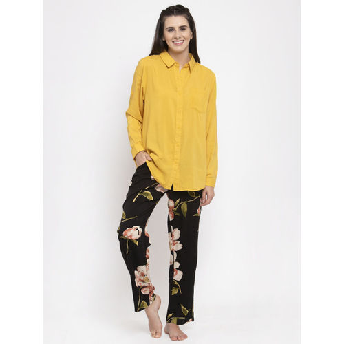 Global Republic Women Mustard Yellow & Black Solid Night suit