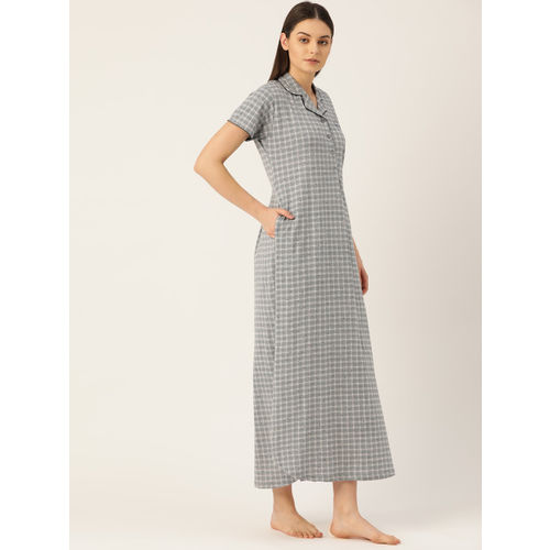 Sweet Dreams Grey & Off-White Checked Nightdress