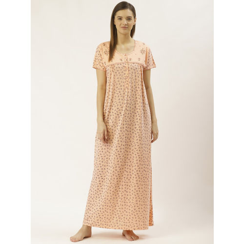 Sweet Dreams Women Peach-Coloured & Navy Blue Printed Nightdress