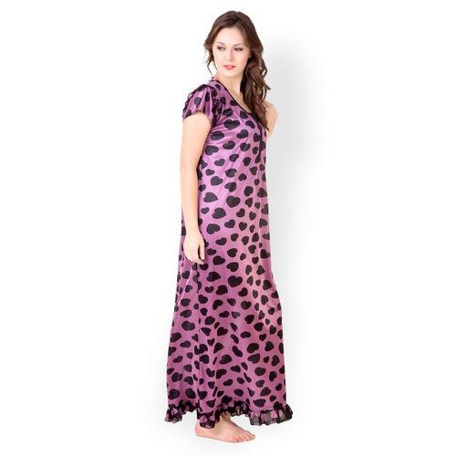 Masha Women Purple Printed Maxi Nightdress NT41-138