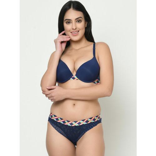 Curvy Love Women Navy Blue Solid Designer Back Lingerie Set CL-1275