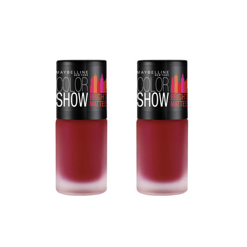Maybelline New York Set Of 2 M214 Brilliant Red Colour Show Bright Matte Nail Polish