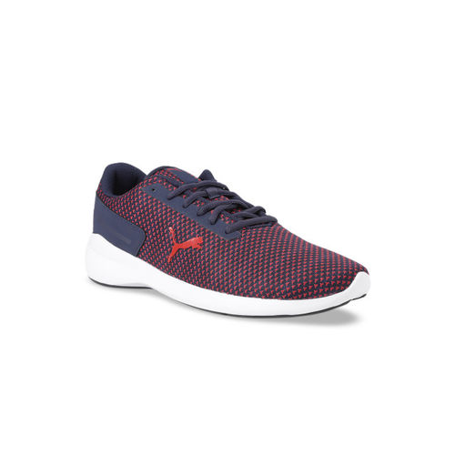 Puma Men Navy Blue & Red Knitted Mesh Pacer EL V2 MU IDP Running Shoes
