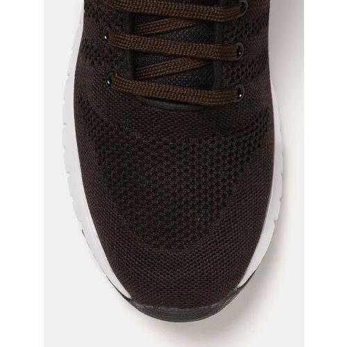 Crew STREET Men Coffee Brown Woven Design Running Shoes
