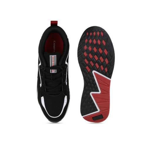 Campus Men Black Mesh Running Shoes