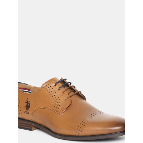 U.S. Polo Assn. Men Tan Brown Solid Leather Derbys