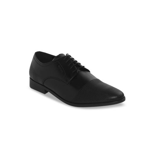 Red Tape Men Black Textured Leather Formal Derbys