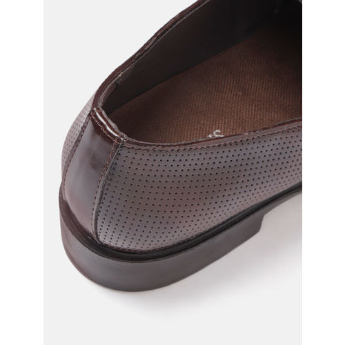 INVICTUS Men Coffee Brown Perforated Formal Slip-Ons