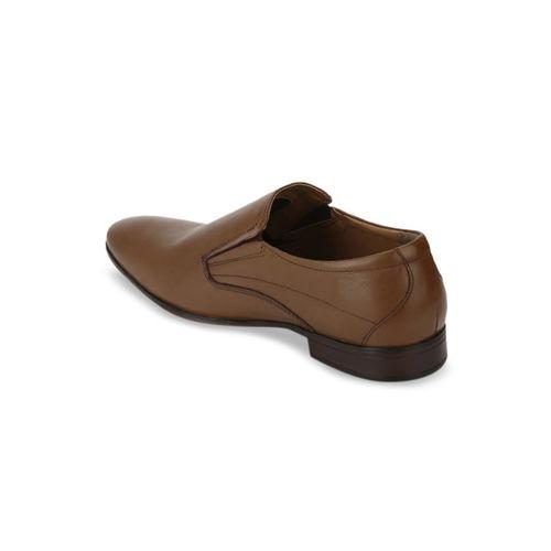 Red Tape Men Tan Brown Solid Leather Formal Slip-Ons