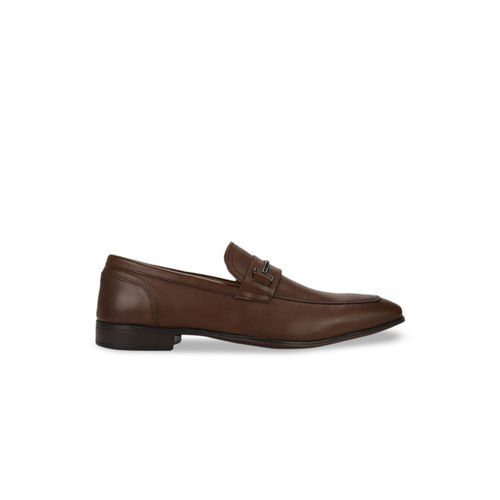 Red Tape Men Coffee Brown Solid Leather Formal Slip-Ons