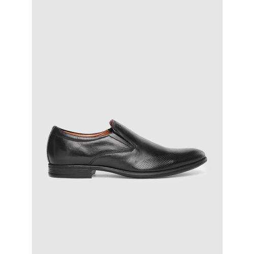 Arrow Men Tan Black Leather Formal Slip-Ons