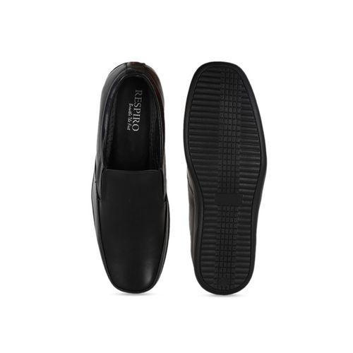 Respiro Men Black Leather Formal Slip-Ons
