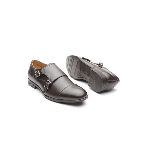 INVICTUS Men Coffee Brown Solid PU Foam Comfort Formal Monk Shoes