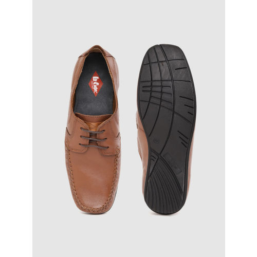 Lee Cooper Men Tan Brown Solid Semiformal Leather Derbys