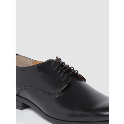 Arrow Men Black Leather Formal Derbys