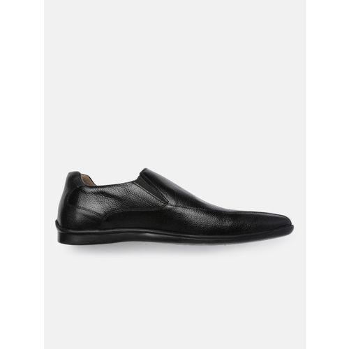 Arrow Men Black Solid Carmine Slip-On Leather Formal Shoes
