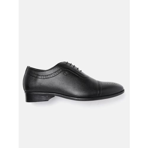 Carlton London Men Black Perforated Formal Oxfords