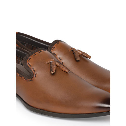 INVICTUS Men Tan Brown Solid Formal Slip-Ons