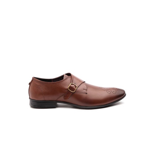 Carlton London Men Brown Perforated Leather Formal Monks