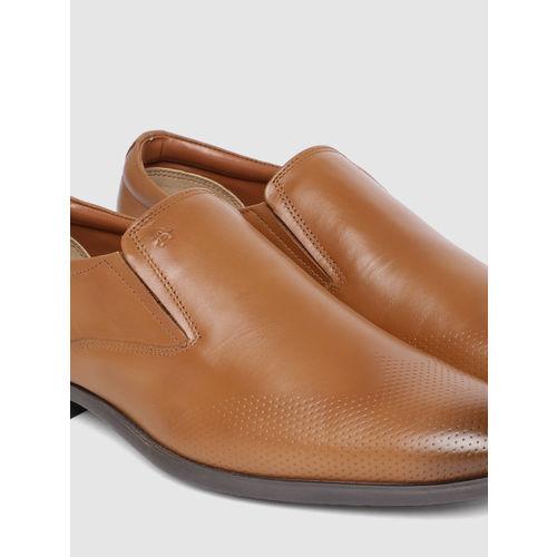 Arrow Men Tan Leather Formal Slip-Ons