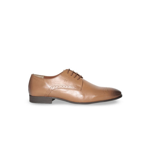 Arrow Men Tan Brown Solid Leather Formal Derbys