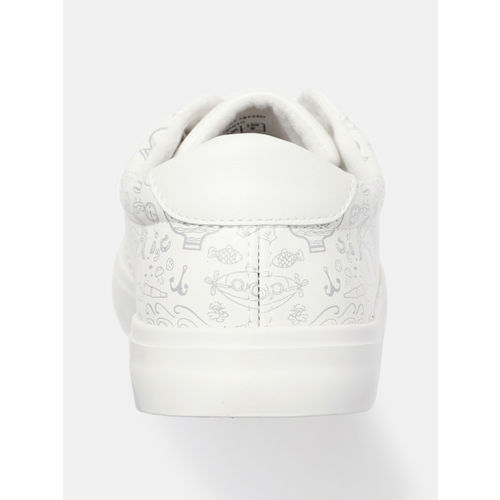 Mast & Harbour Men White & Grey Printed Sneakers