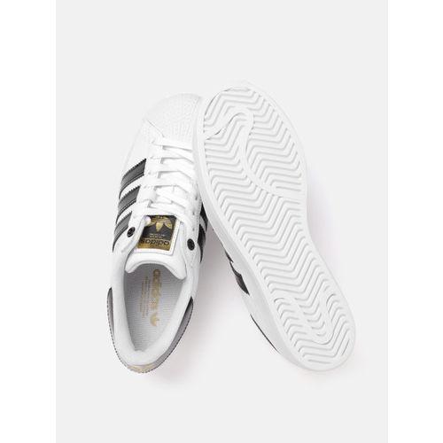 ADIDAS Originals Women White & Black Superstar Bold Textured Detail Flatform Sneakers