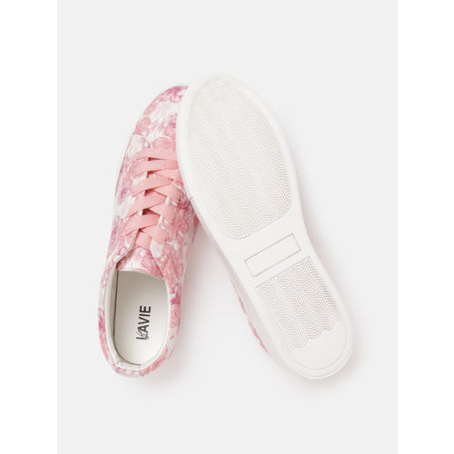 Lavie Women Pink & White Floral Printed Sneakers