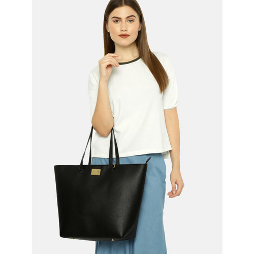 Allen Solly Black Solid Oversized Shoulder Bag