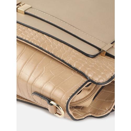 Mast & Harbour Beige Croc Textured Shoulder Bag