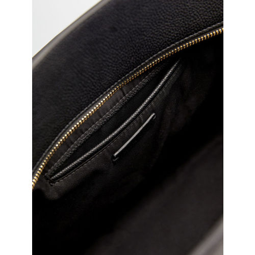 MANGO Black Solid Handheld Bag with Detachable Sling Strap