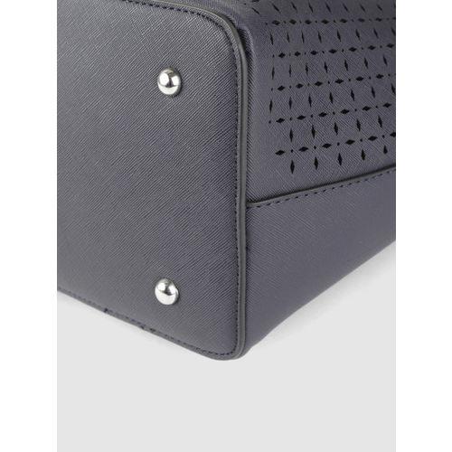 DressBerry Navy Blue Textured Shoulder Bag
