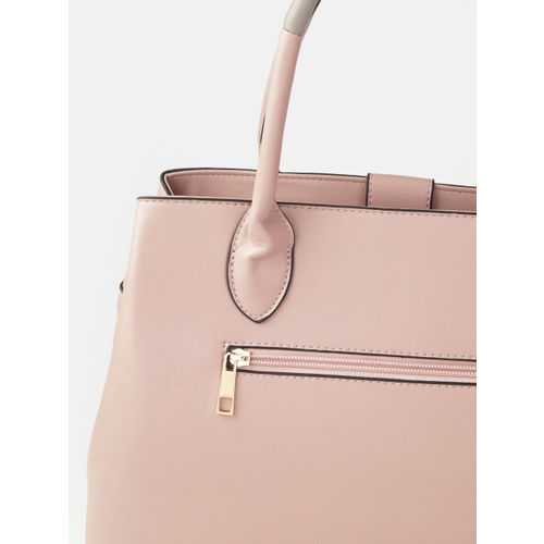 DressBerry Pink Solid Handheld Bag with Detachable Sling Strap