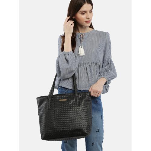 Caprese Women Black Self Design Shoulder Bag