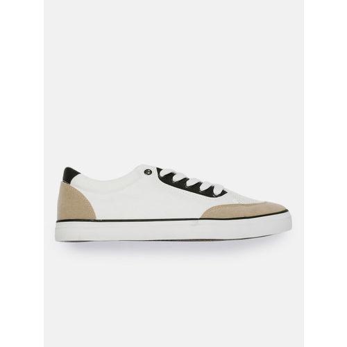 Mast & Harbour Men White & Beige Colourblocked Sneakers