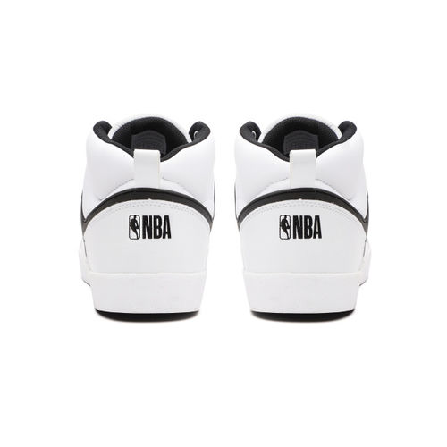 NBA Men White Solid Mid-Top Sneakers