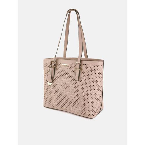 DressBerry Peach-Coloured Laser Cut Shoulder Bag