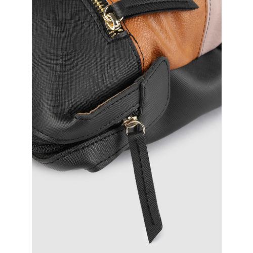 Baggit Black & Camel Brown Colourblocked Handheld Bag