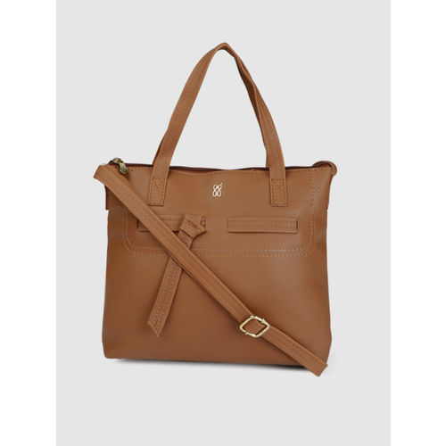 Baggit Tan Brown Solid Handheld Bag