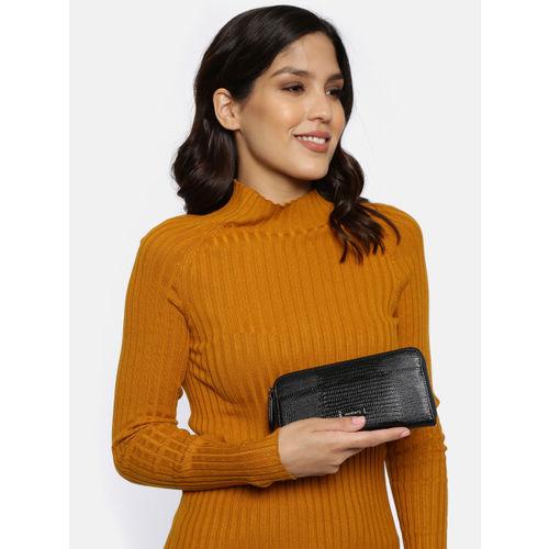 DressBerry Women Black Textured Zip Around Wallet