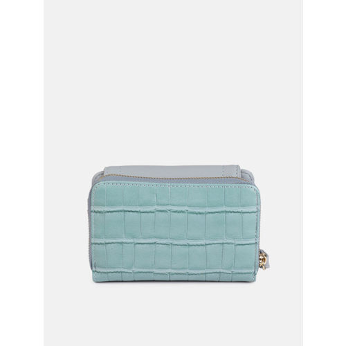 DressBerry Women Blue Textured Three Fold Wallet